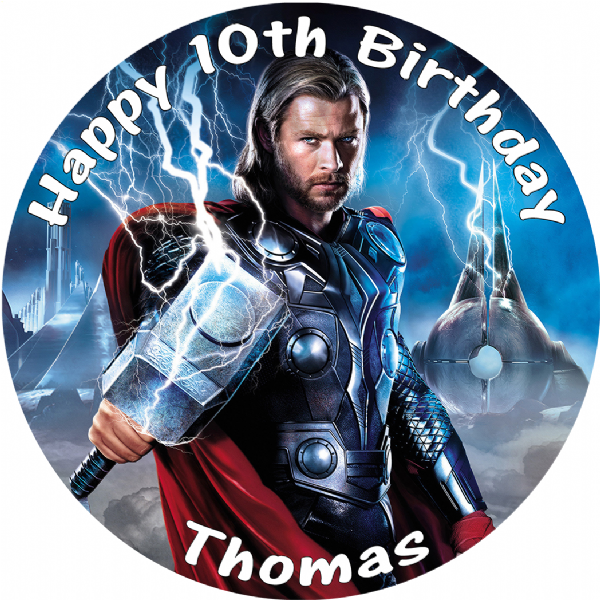 THOR EDIBLE ROUND BIRTHDAY CAKE PERSONALISED DECORATION